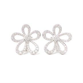 Van Cleef & Arpels 18k White Gold Diamond Flowerlace Earrings