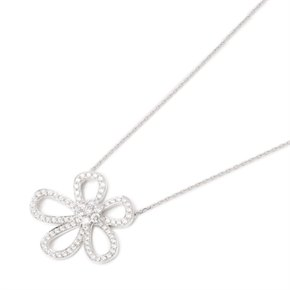 Van Cleef & Arpels 18k White Gold Diamond Flowerlace Necklace