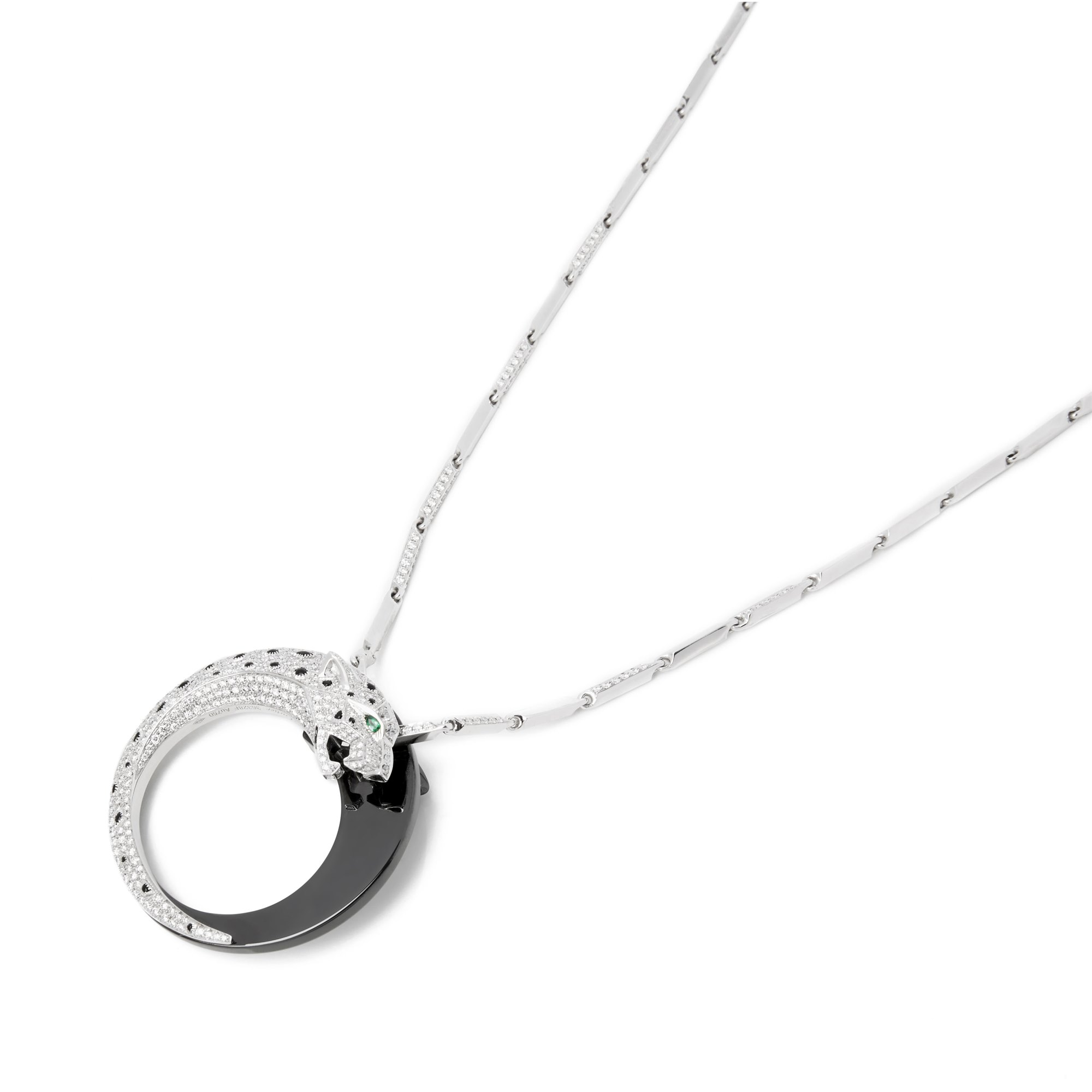 b91b4934a31 18k White Gold Diamond Panthère Pendant Necklace