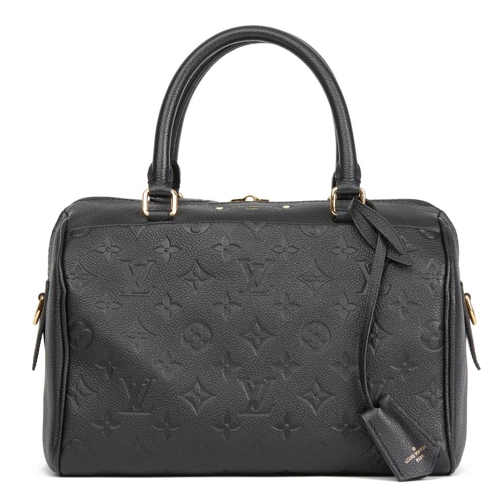 9bda9df0f3ea Louis Vuitton Black Monogram Empreinte Leather Speedy Bandouliere 25