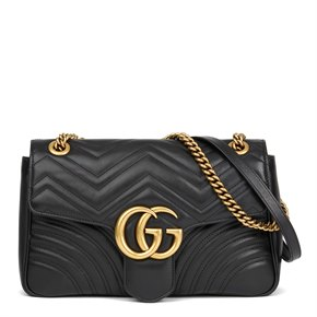 Gucci Black Quilted Calfskin Leather Medium Marmont