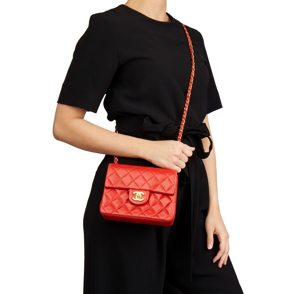 Chanel Red Quilted Lambskin Vintage Mini Flap Bag