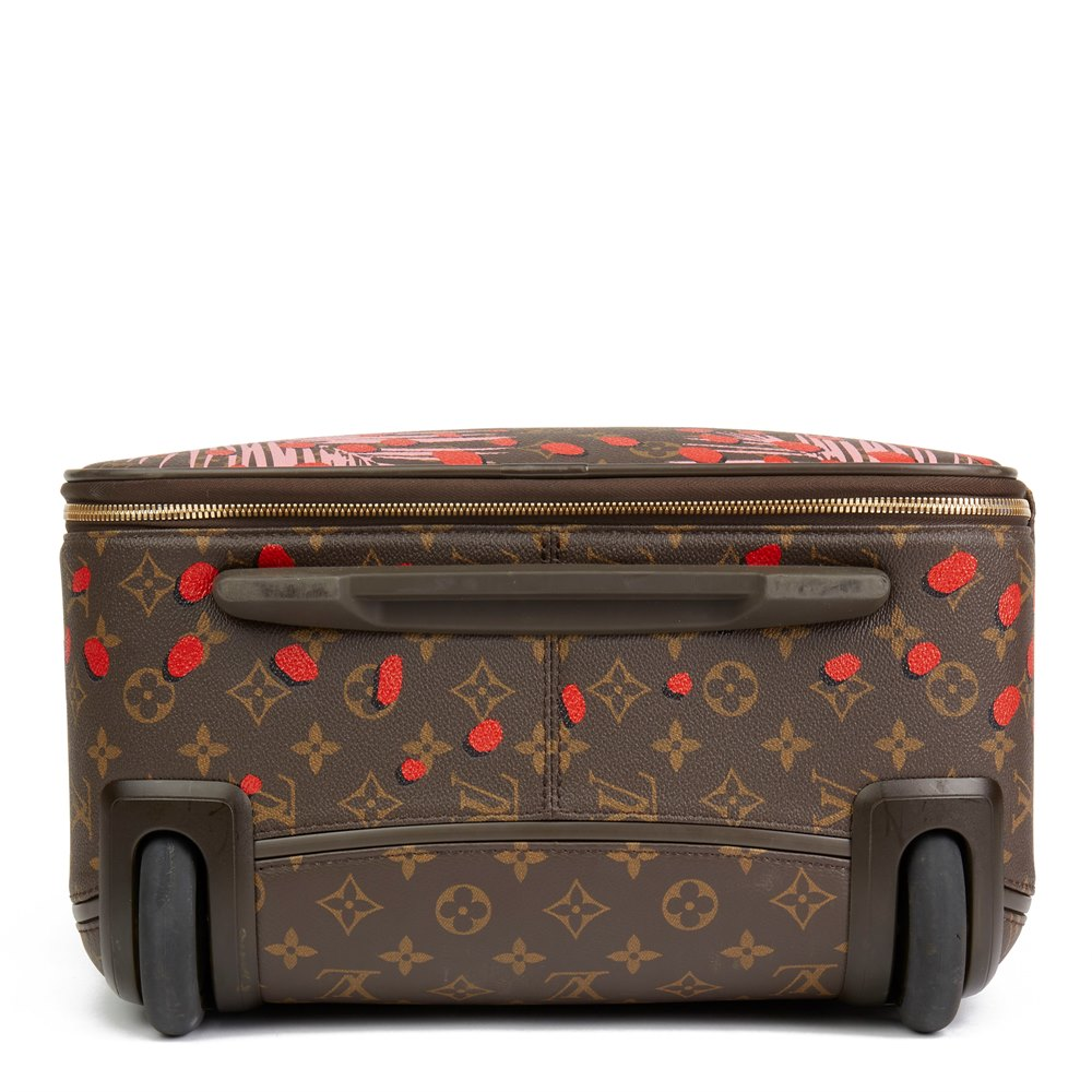 Louis Vuitton Brown Monogram Sugar Pink Poppy Jungle Coated Canvas Pégase Légère 55