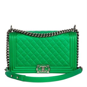 Chanel Green Quilted Metallic Lambskin Leather New Medium Le Boy