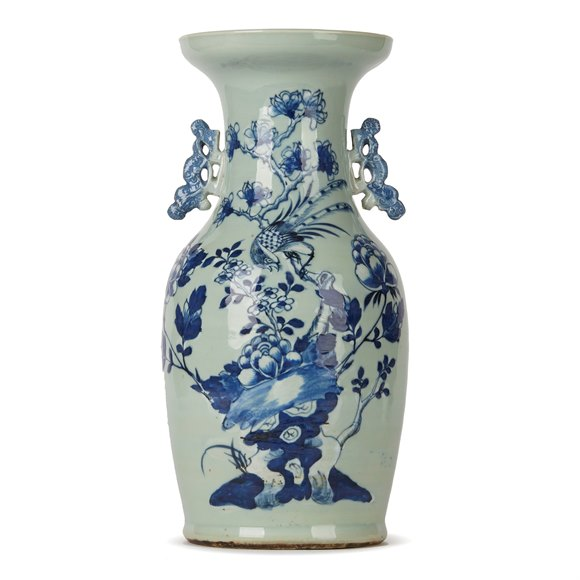 CHINESE QING BLUE & WHITE CELADON BIRD DECORATED VASE 19TH C.