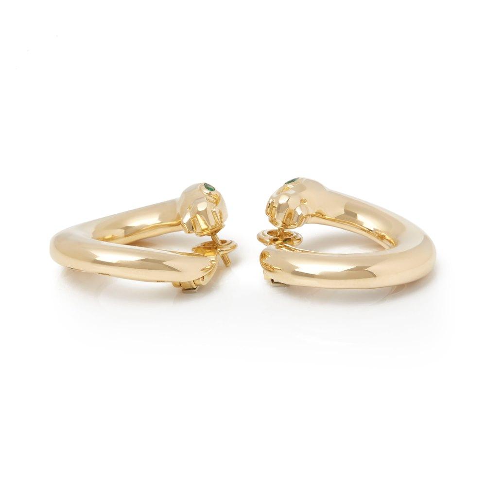 Cartier 18k Yellow Gold Emerald Panthère Earrings
