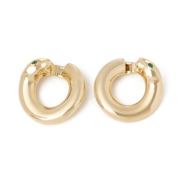 Cartier 18k Yellow Gold Emerald Panthère Earrings