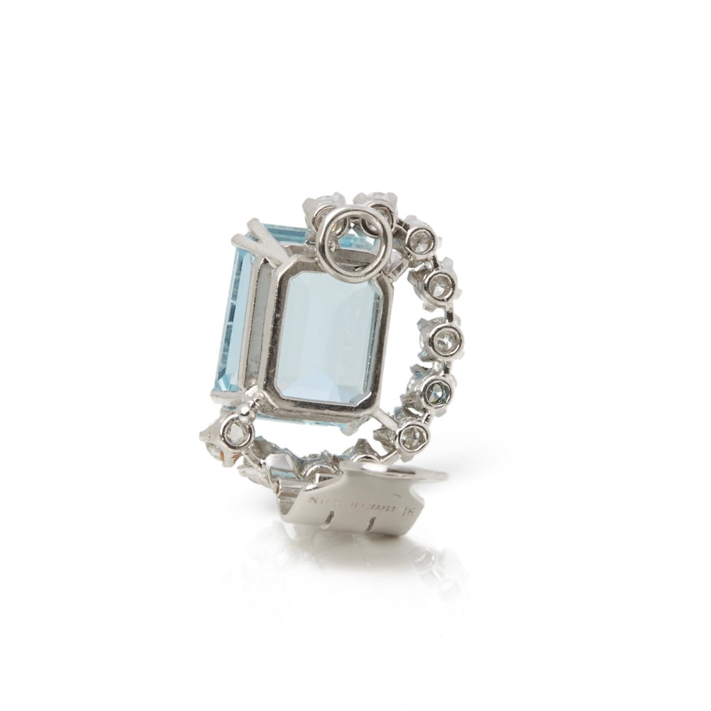 Boucheron Platinum Aquamarine 1930's Vintage Earrings