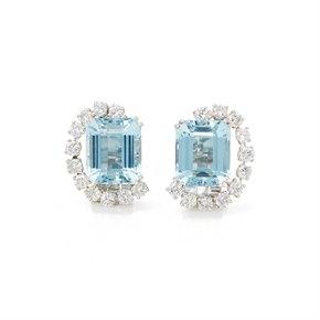 Boucheron Platinum Aquamarine 1930's Vintage Earrings