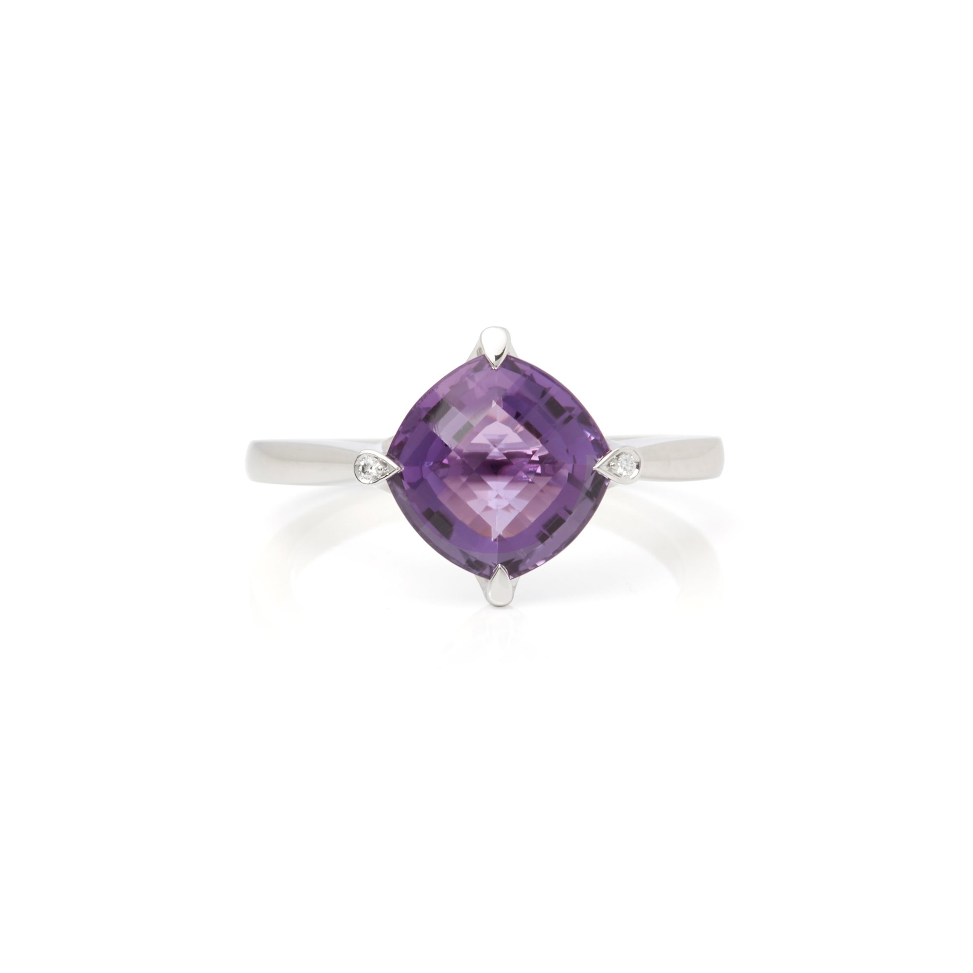 Cartier 18k White Gold Amethyst Lotus Ring