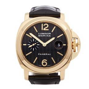 Panerai Luminor Marina Carbon Dial 18k Yellow Gold - PAM00140