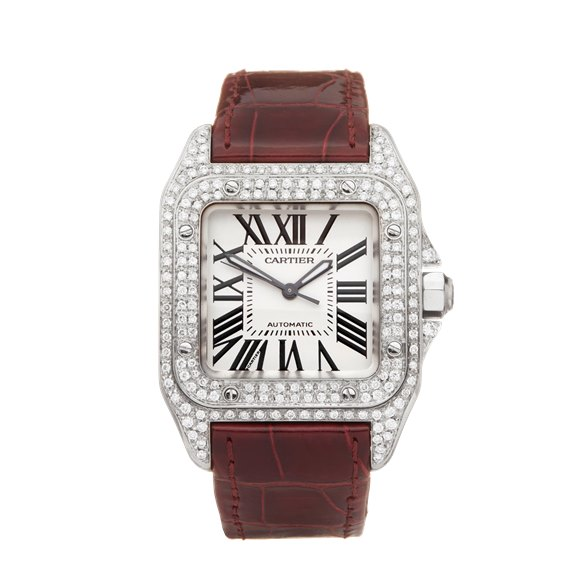 Cartier Santos 100 Afterset Diamond Stainless Steel - 2878