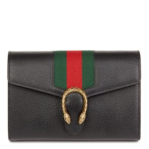 Gucci Black Calfskin Leather Web Mini Dionysus Wallet on Chain