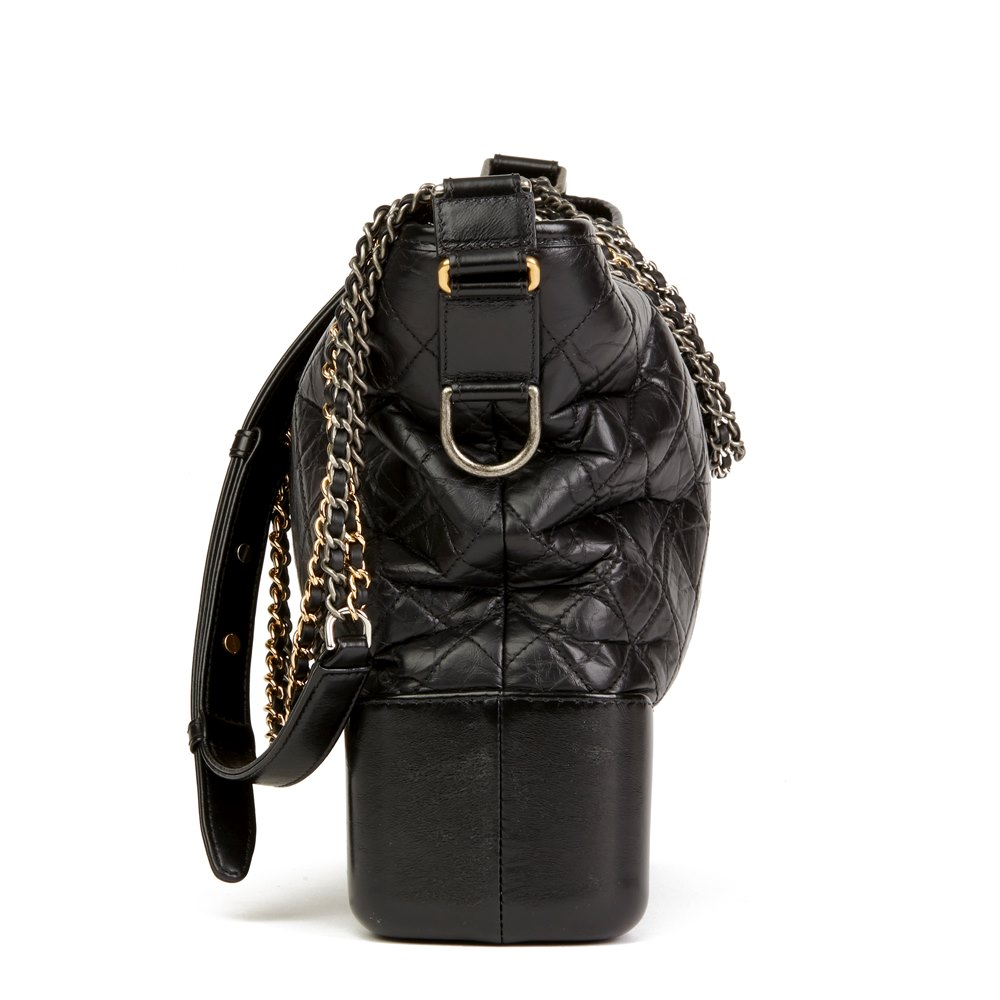 Chanel Black Quilted Aged Calfskin Leather Large Gabrielle Hobo Bag
