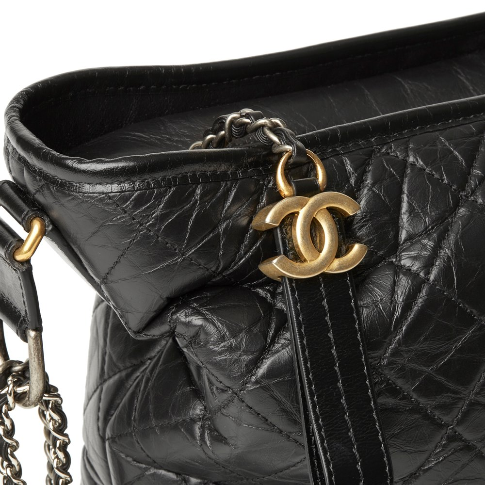 4a36e3fb7636 Chanel Black Quilted Aged Calfskin Leather Large Gabrielle Hobo Bag