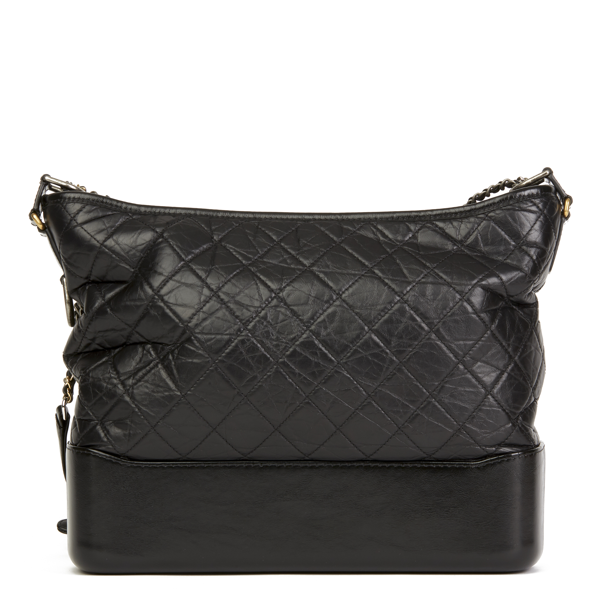 8baf65a171ce08 Details about CHANEL BLACK QUILTED AGED CALFSKIN LEATHER LARGE GABRIELLE  HOBO BAG HB2800