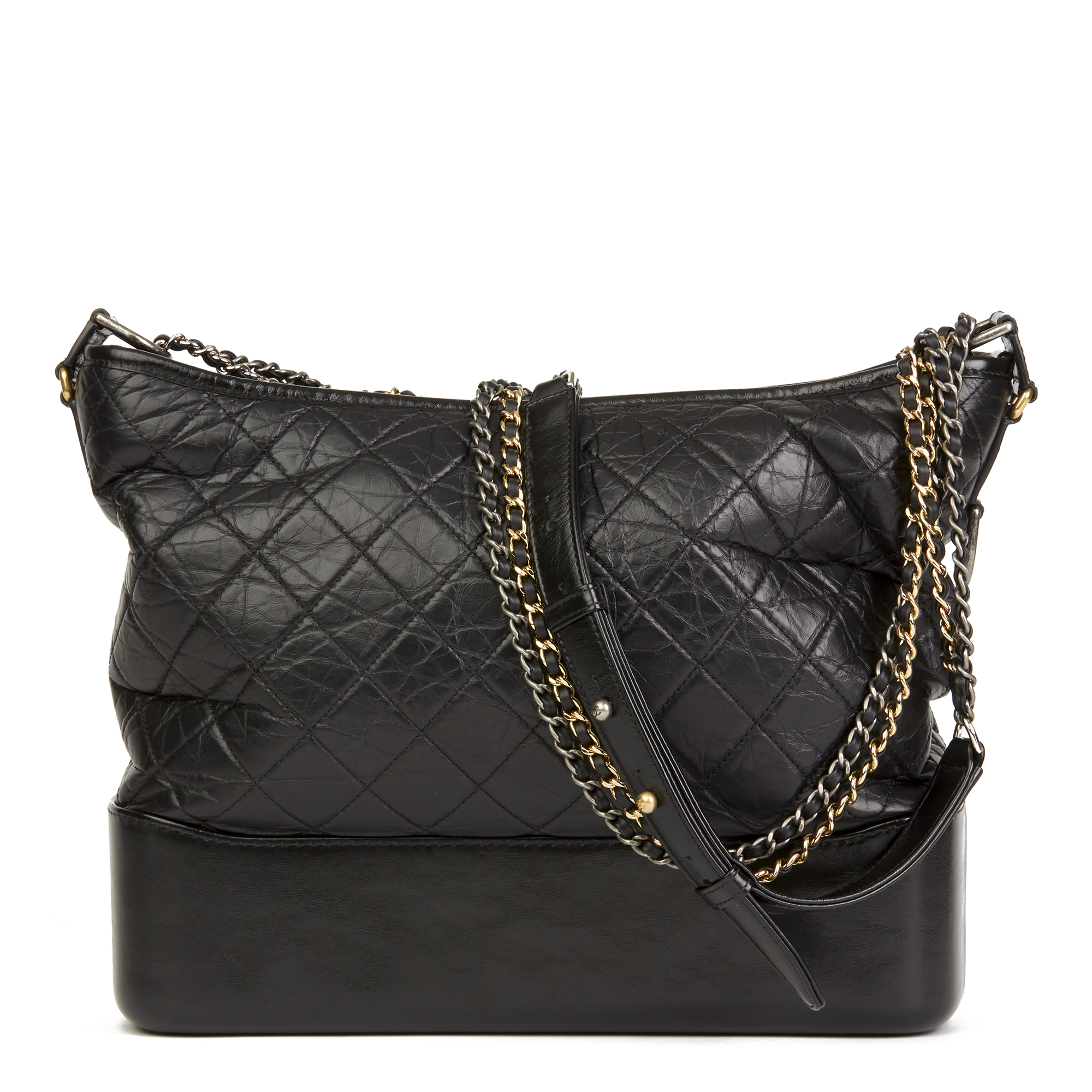 f9da8df92eca2e CHANEL BLACK QUILTED AGED CALFSKIN LEATHER LARGE GABRIELLE HOBO BAG ...