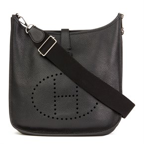 Hermès Black Clemence Leather Evelyne III 33