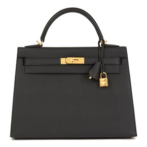 Hermès Black Epsom Leather Kelly 32cm Sellier