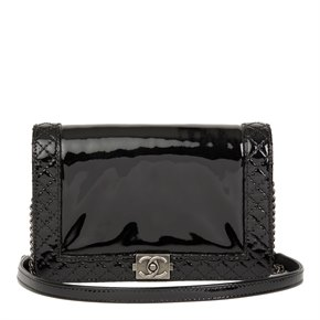 Chanel Black Quilted Patent Leather Small Le Boy Reverso