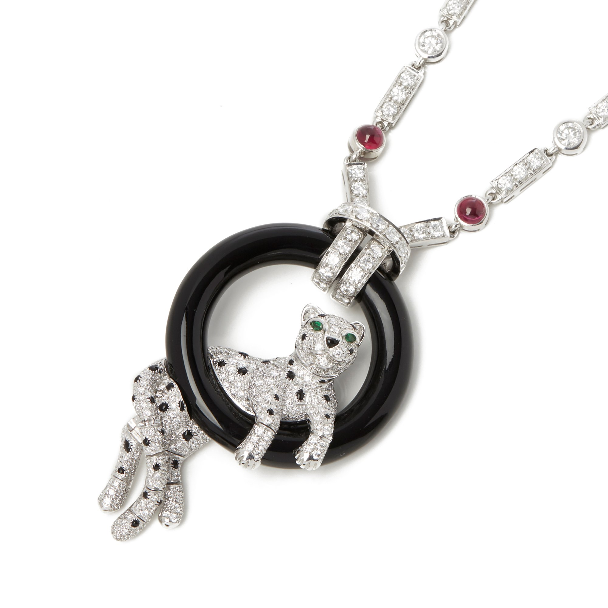 Cartier Platinum Ruby & Diamond Panthère Necklace In The Style Of Cartier