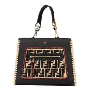 Fendi Black Calfskin Leather, Embroidered Raffia & Red Python Leather Small Runaway