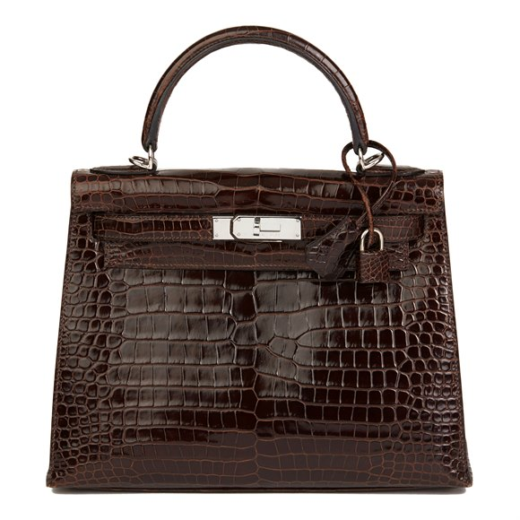 Hermès Chocolate Brown Shiny Porosus Crocodile Leather Kelly 28cm Sellier