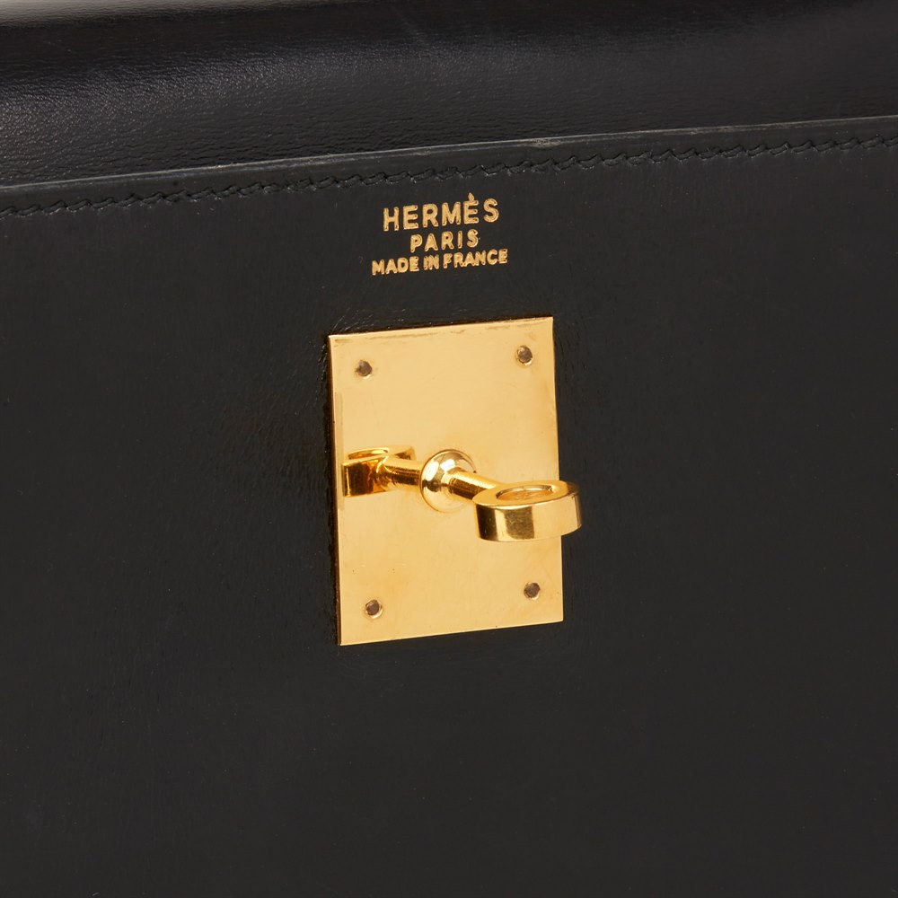 Hermès Black Box Calf Leather Vintage Kelly 32cm Sellier