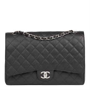 Chanel Black Quilted Caviar Leather Maxi Classic Double Flap Bag