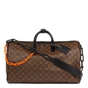 Louis Vuitton Brown Monogram Coated Canvas & Black Calfskin Leather Virgil Abloh Keepall Bandouliere 50