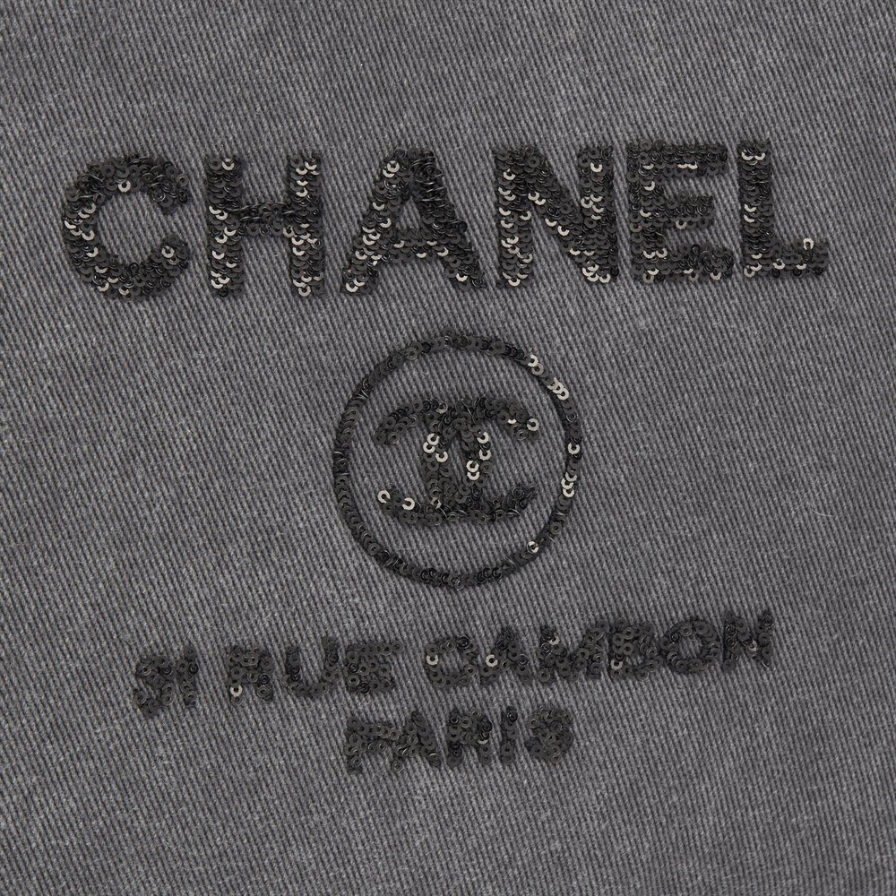 Chanel Grey Denim Sequin Embellished Deauville Small O Case