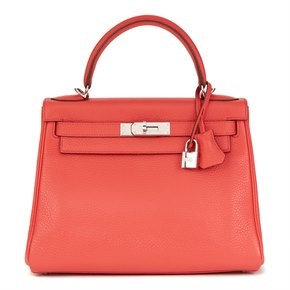 Hermès Bougainvillier Clemence Leather Kelly 28cm Retourne