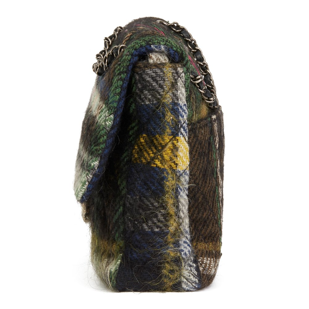 Chanel Dark Multicolour Tartan Quilted Mohair Fabric Day Flap Bag