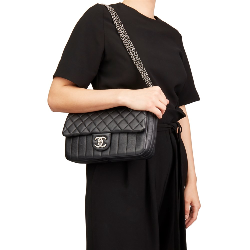 Chanel Black Quilted Calfskin Leather Classic Single Flap Bag