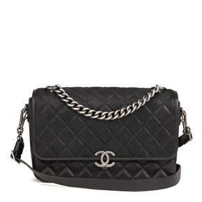 Chanel Black Quilted Caviar Leather, Nubuck Suede & Calfskin Leather Jumbo Rock My Shoulder Flap Bag