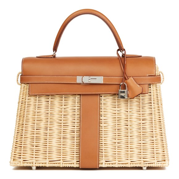 Hermès Barenia Leather & Wicker Kelly 35cm Picnic