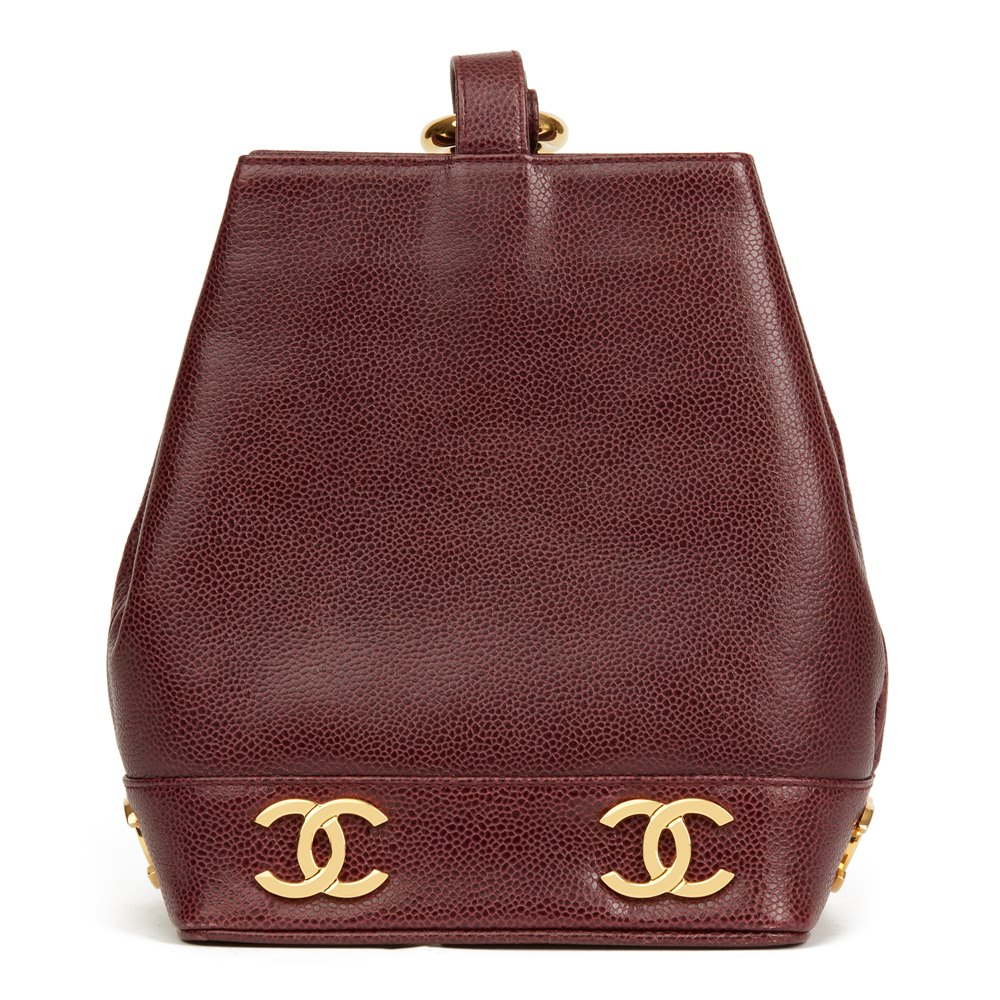 Chanel Plum Caviar Leather Vintage Logo Trim Bucket Bag