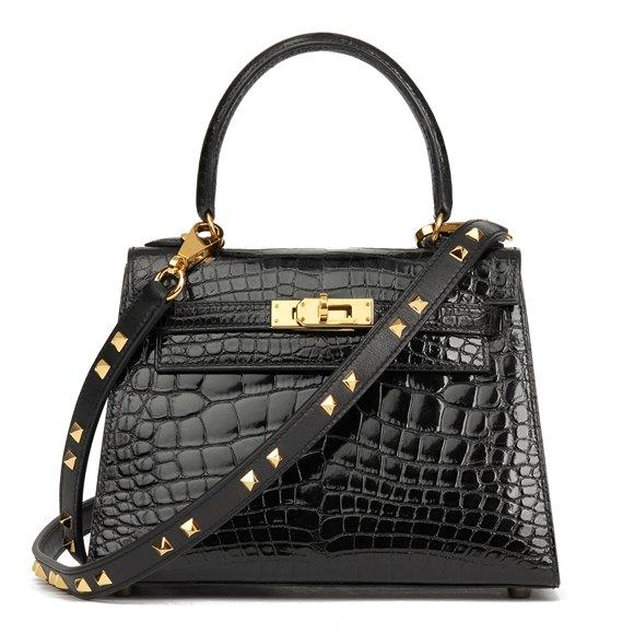 Hermès Black Shiny Mississippiensis Alligator Leather Vintage Kelly 20cm Sellier