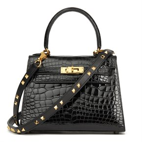 Hermès Black Shiny Mississippiensis Alligator Leather Vintage Kelly 20cm Sellier