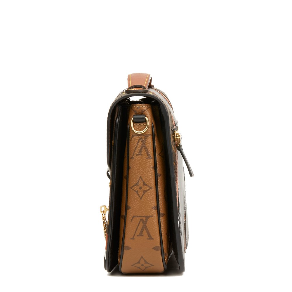 Louis Vuitton Brown, Black, White Calfskin Leather & Brown Monogram Coated Canvas Brogue Pochette Metis
