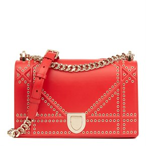Christian Dior Red Lambskin Eyelet Diorama Flap Bag