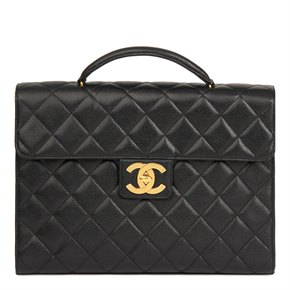 Chanel Black Quilted Caviar Leather Jumbo XL Classic Briefcase