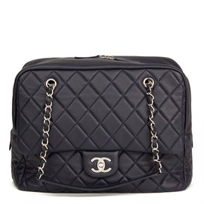 Chanel Navy Quilted Calfskin Leather Jumbo Classic Camera Bag
