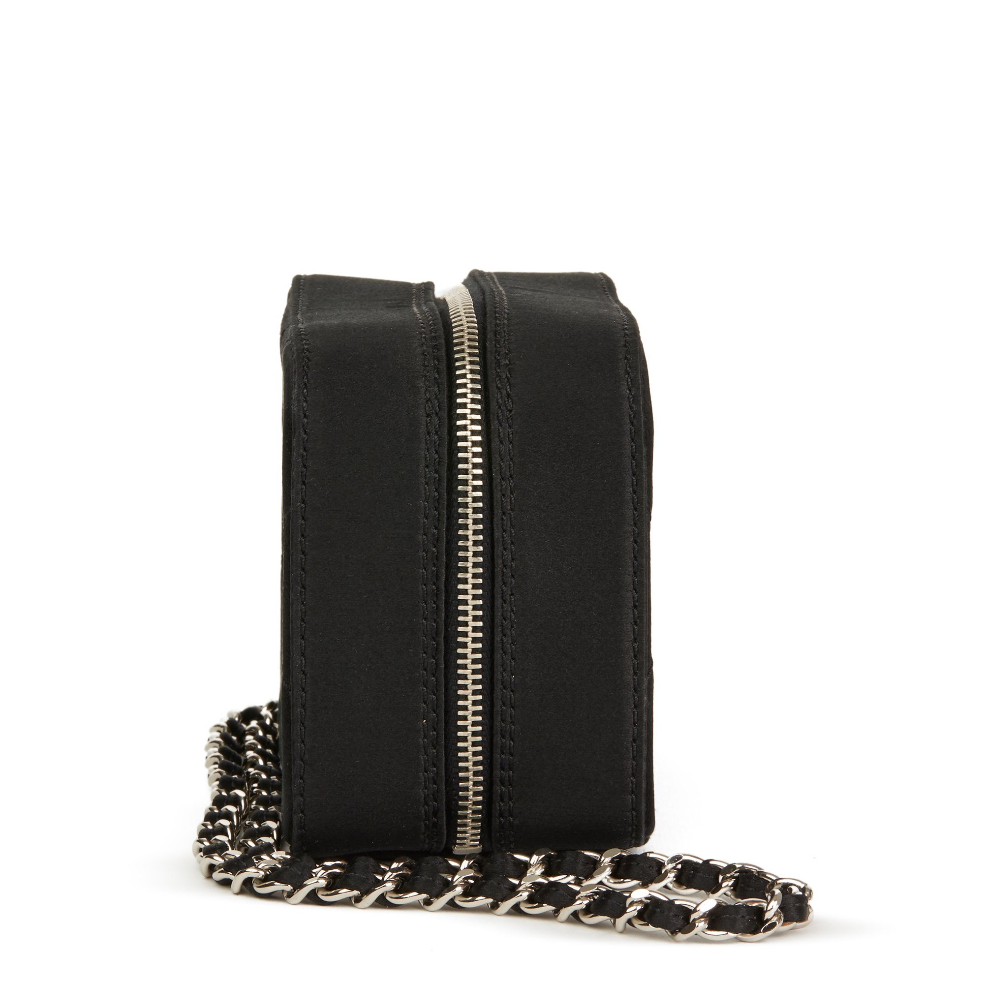 Chanel Black Quilted Satin Mini Timeless Wristlet
