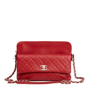 Chanel Red Quilted Lambskin Classic Shoulder Bag