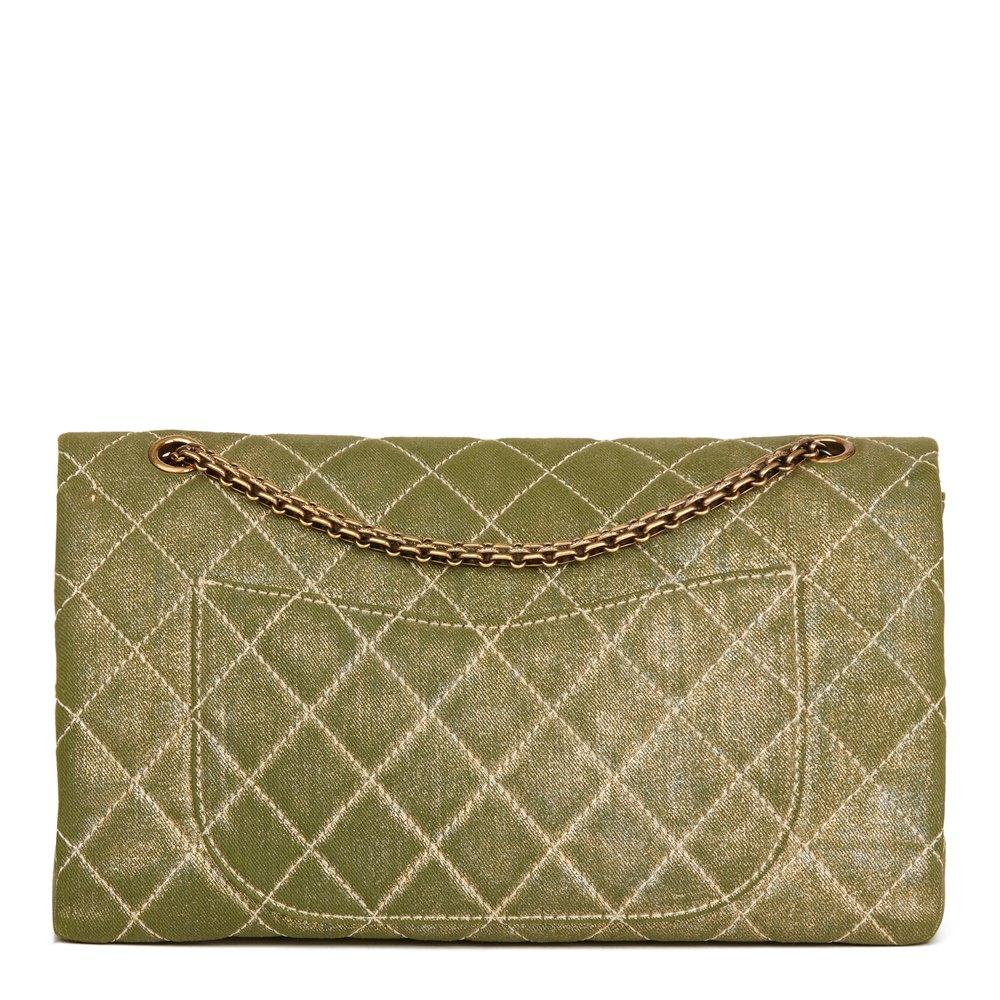 Chanel Khaki Metallic Coated Denim 2.55 Reissue 227 Double Flap Bag