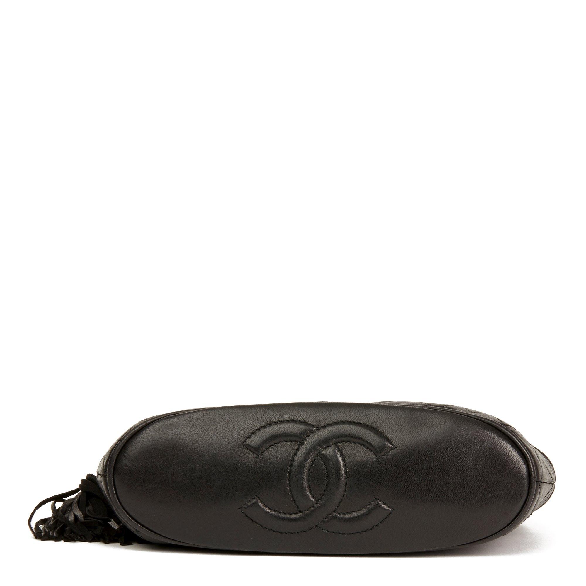 Chanel Black Quilted Lambskin Vintage Timeless Fringe Bucket Bag