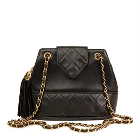 Chanel Black Quilted Lambskin Vintage Timeless Fringe Bucket Bag