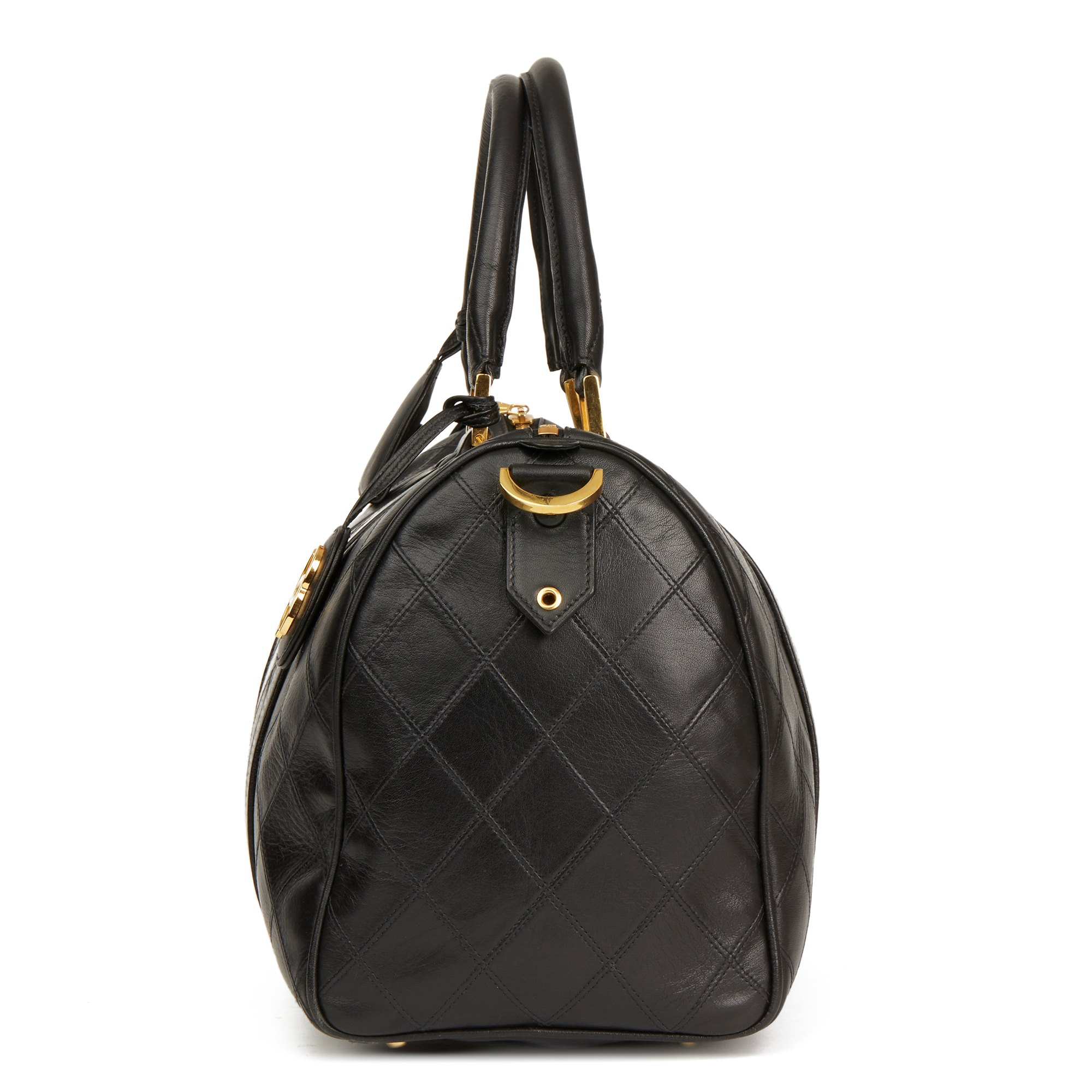 Chanel Black Quilted Lambskin Vintage Boston 35
