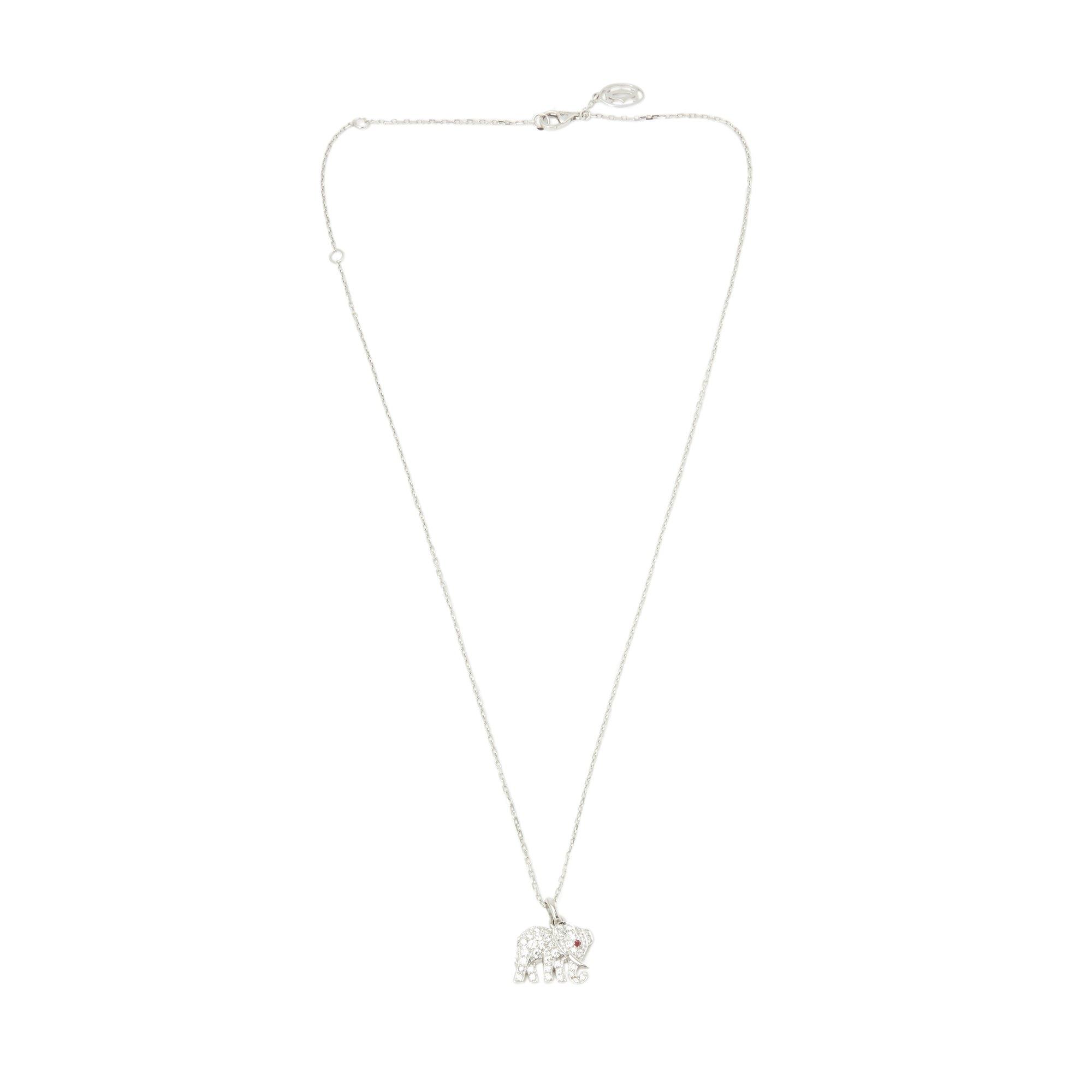 Cartier 18k White Gold Small Bespoke Elephant Pendant Necklace